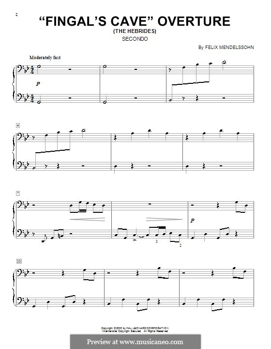 Die Hebriden oder Die Fingalshöhle (Hebrides Overture), Op.26: para piano de quadro mãos by Felix Mendelssohn-Bartholdy