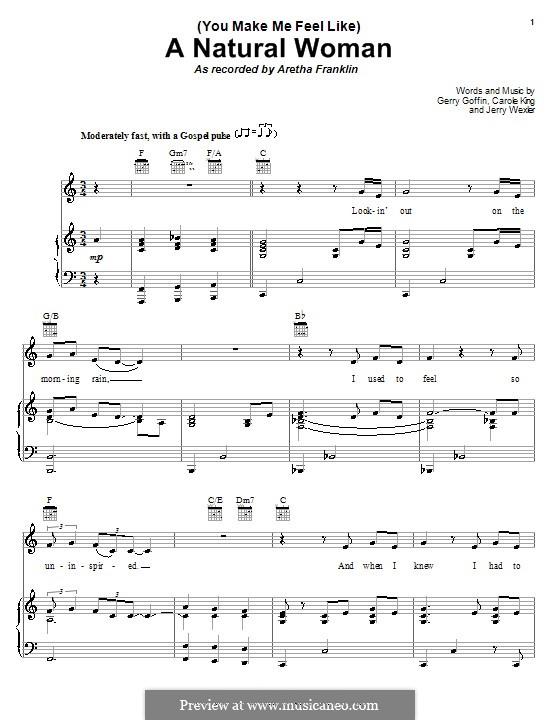 (You Make Me Feel Like) A Natural Woman (Aretha Franklin): Para vocais e piano (ou Guitarra) by Carole King, Gerry Goffin, Jerry Wexler