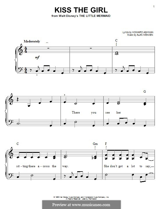 Kiss the Girl (from The Little Mermaid): Facil para o piano by Alan Menken