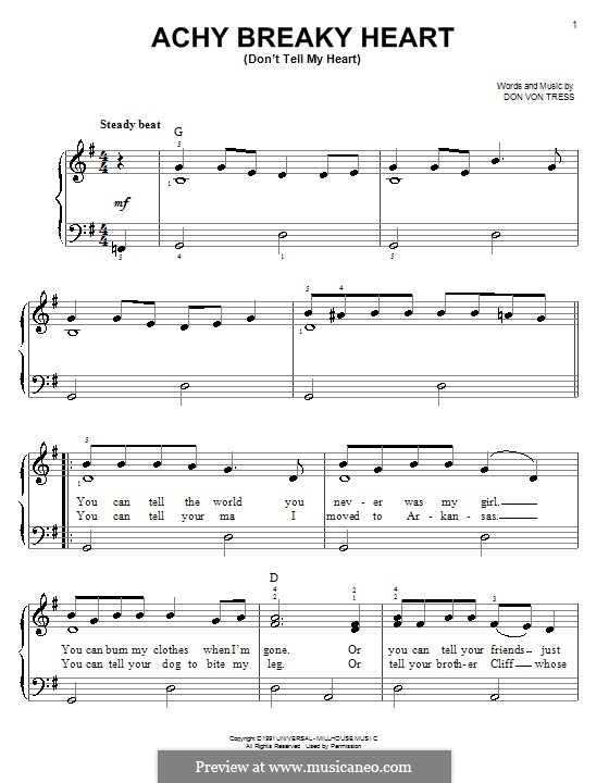 Achy Breaky Heart (Don't Tell My Heart): Facil para o piano by Donald Von Tress