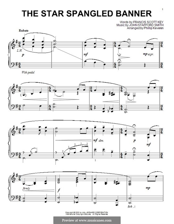 The Star Spangled Banner (National Anthem of The United States). Printable Scores: para piano (G maior) by John Stafford Smith