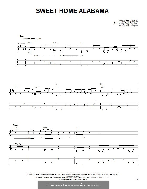 Sweet Home Alabama (Lynyrd Skynyrd): Para guitarra (versão facil) by Ed King, Gary Rossington, Ronnie Van Zant