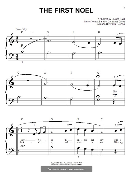 The First Nowell (The First Noël), for Piano: versão muito facil by folklore