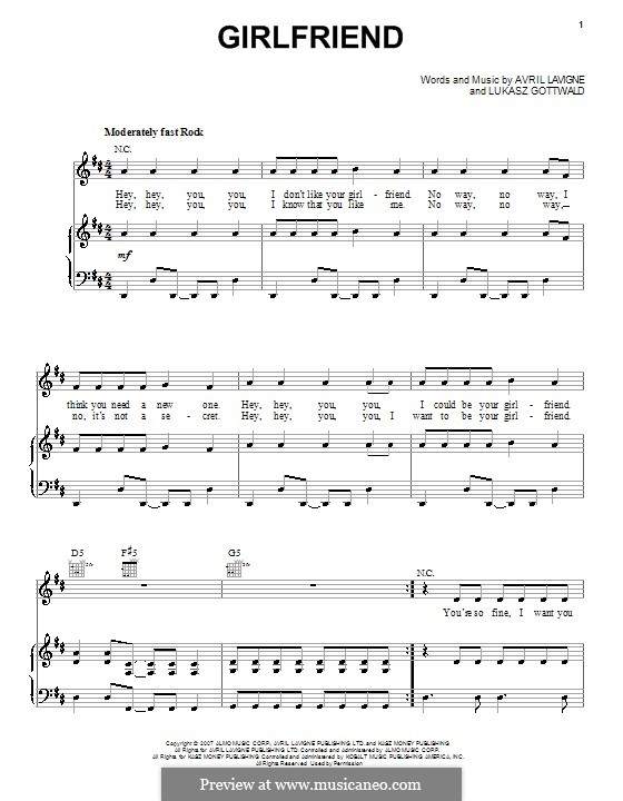Girlfriend (Avril Lavigne): Para vocais e piano (ou Guitarra) by Lukas Gottwald