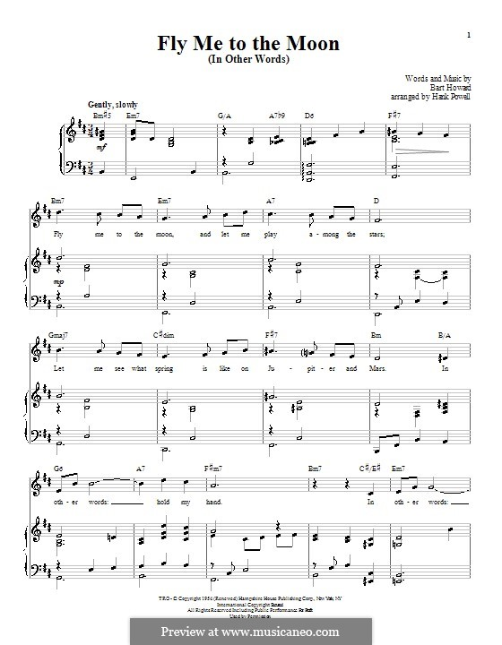 Fly Me to the Moon (In Other Words): For voice and piano or guitar (Tony Bennett) by Bart Howard