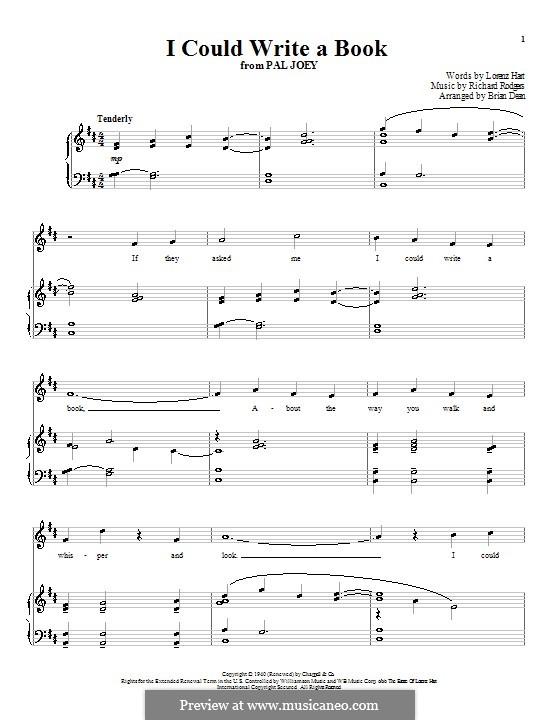 I Could Write a Book: Para vocais e piano (ou Guitarra) by Richard Rodgers