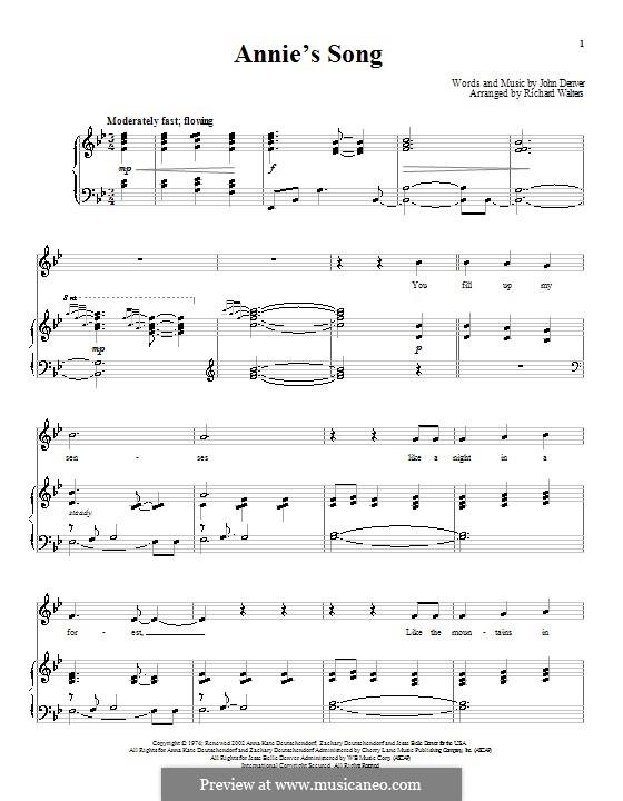 Annie's Song: Para vocais e piano (ou Guitarra) by John Denver