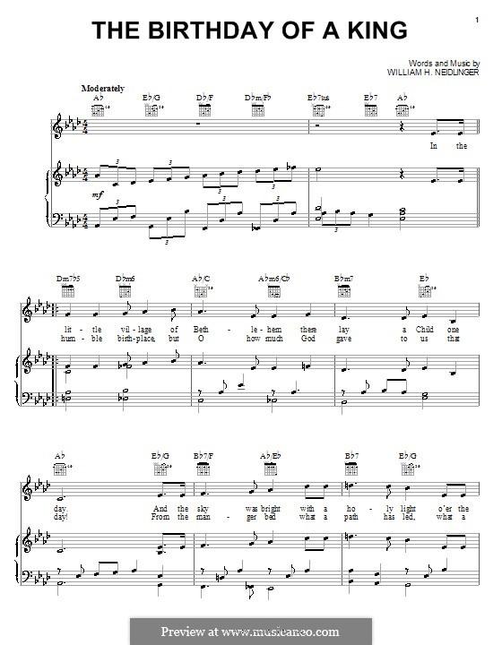 The Birthday of a King: Para vocais e piano (ou Guitarra) by William Harold Neidlinger