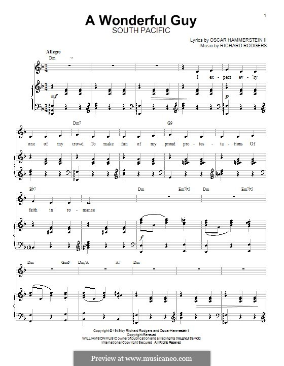 A Wonderful Guy (from South Pacific): para vocais,piano ou guitarra by Richard Rodgers