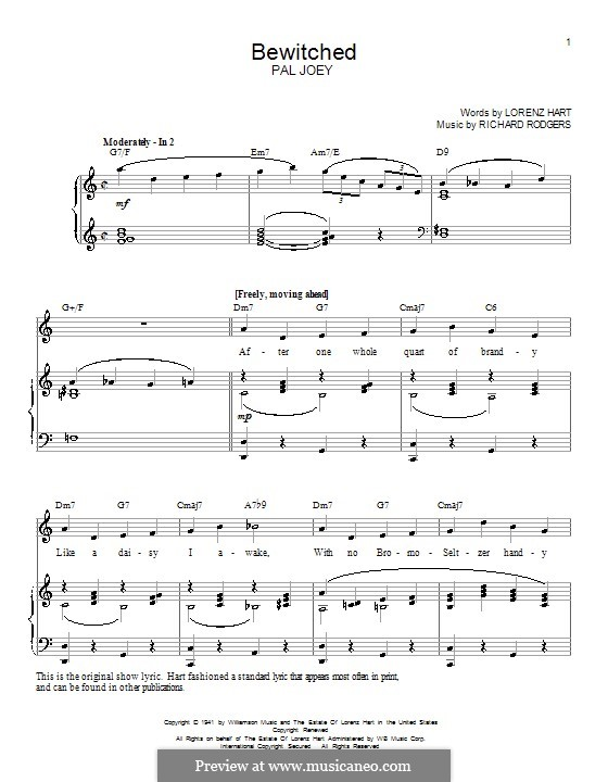 Bewitched (The Betty Smith Group): Para vocais e piano (ou Guitarra) by Richard Rodgers
