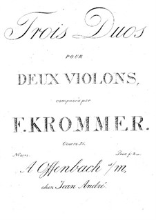 Three Duos for Two Violins, Op.51: Partes by Franz Krommer