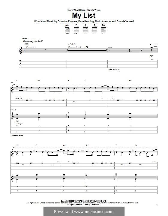 My List (The Killers): para guitarras com guia by Brandon Flowers, Dave Keuning, Mark Stoermer, Ronnie Vannucci