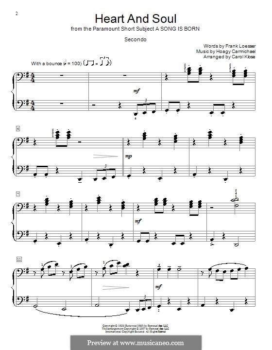 Heart and Soul: para piano de quadro mãos by Hoagy Carmichael