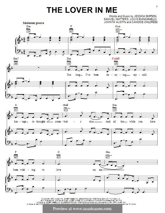The Lover in Me (Jessica Simpson): Para vocais e piano (ou Guitarra) by Candice Childress, Johntá Austin, Louis Biancaniello, Samuel Watters