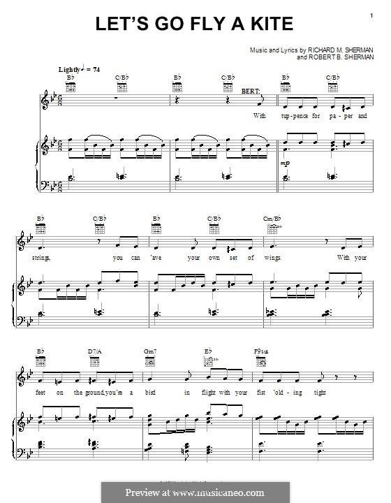 Let's Go Fly a Kite: Para vocais e piano (ou Guitarra) by Richard M. Sherman, Robert B. Sherman
