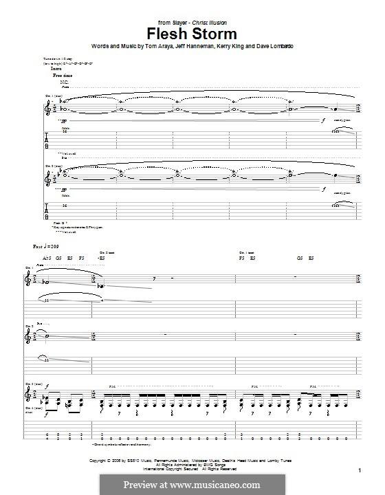 Flesh Storm (Slayer): Para guitarra com guia by Dave Lombardo, Jeffery Hanneman, Kerry King, Tom Araya