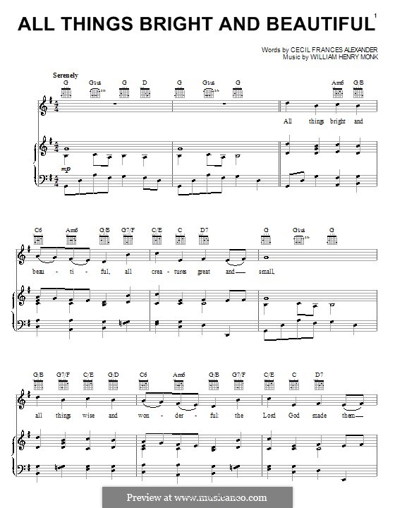 All Things Bright and Beautiful: Para vocais e piano (ou Guitarra) by William Henry Monk