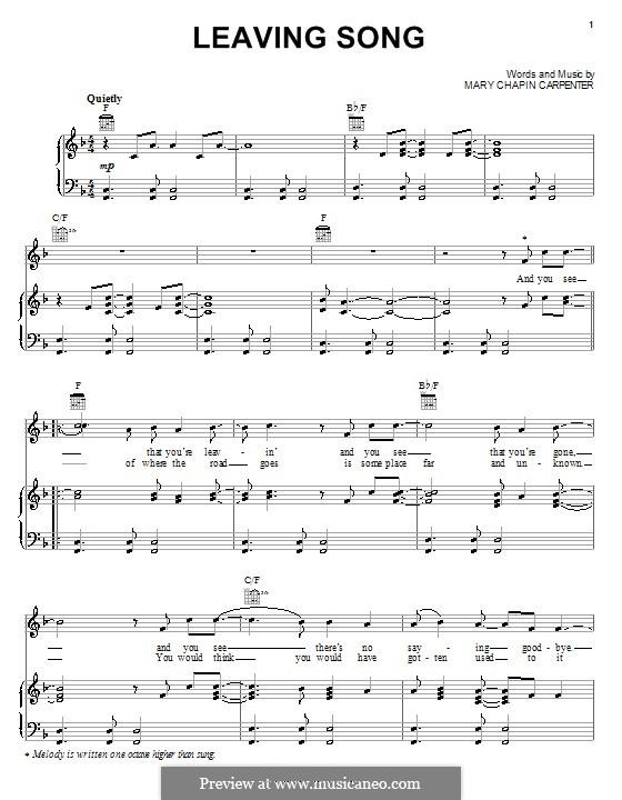 Leaving Song: Para vocais e piano (ou Guitarra) by Mary Chapin Carpenter