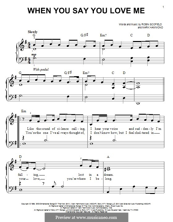When You Say You Love Me (Josh Groban): Para Piano by Mark Hammond, Robin Scoffield