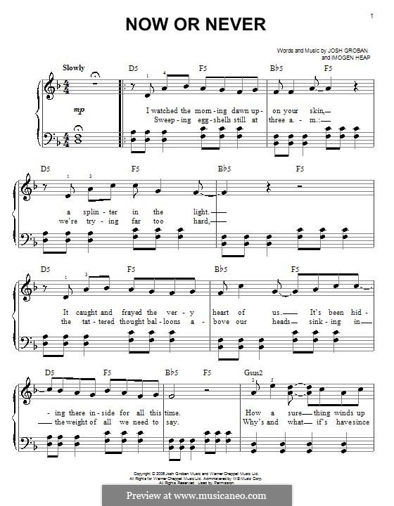Now or Never: Facil para o piano by Imogen Heap, Josh Groban