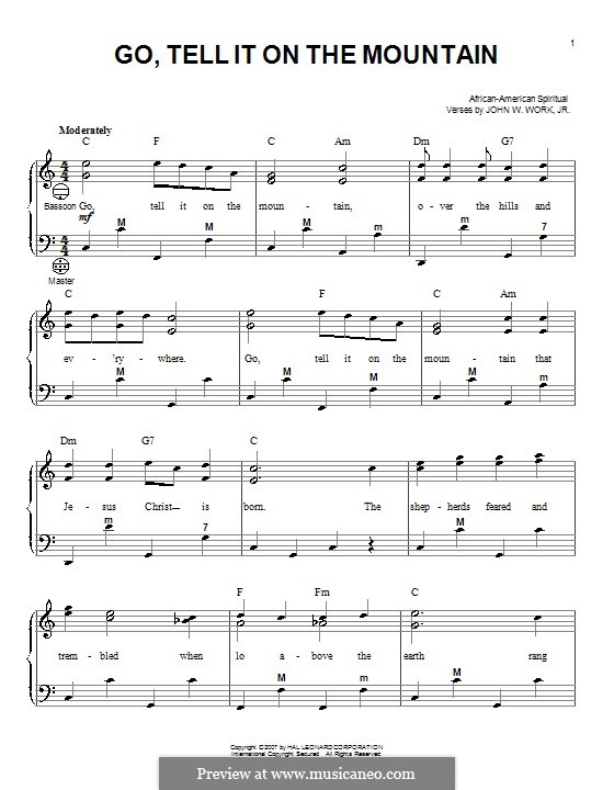 Go, Tell it on the Mountain (Printable Scores): para acordeão by folklore