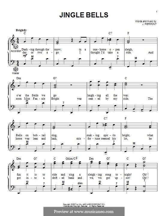 Jingle Bells (Printable scores): para acordeão by James Lord Pierpont