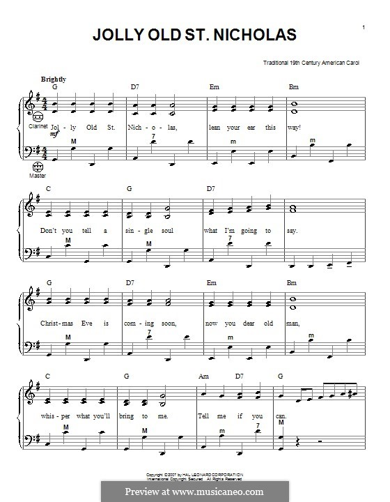 Jolly Old St. Nicholas: para acordeão by folklore