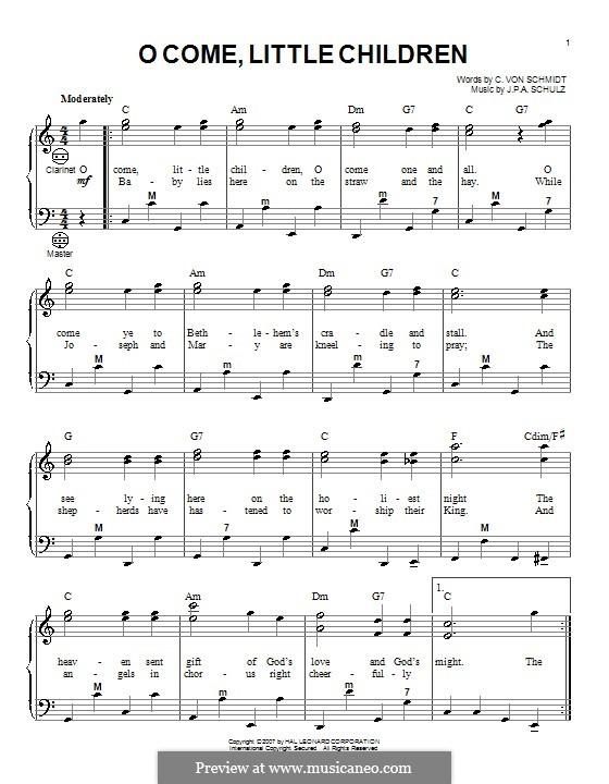 O Come, Little Children: para acordeão by Johann Abraham Schulz