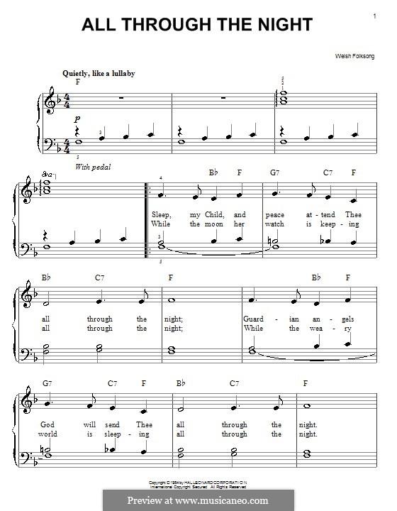 All Through the Night: Facil para o piano by folklore