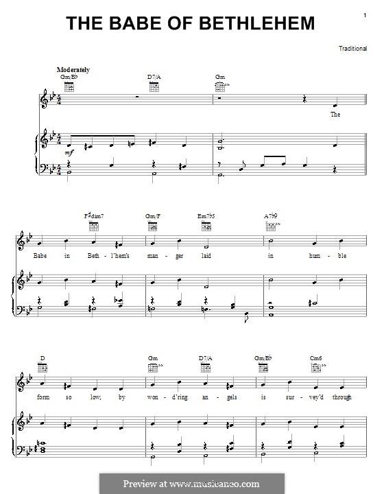 The Babe of Bethlehem: Para vocais e piano (ou Guitarra) by folklore