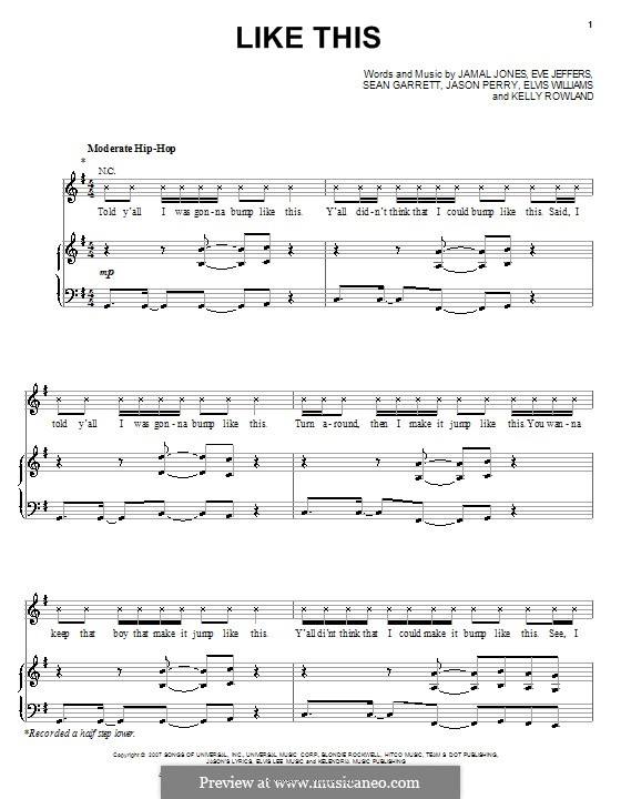 Like This (Kelly Rowland featuring Eve): Para vocais e piano (ou Guitarra) by Elvis Williams, Eve Jeffers, Jamal Jones, Jason Perry, Sean Garrett