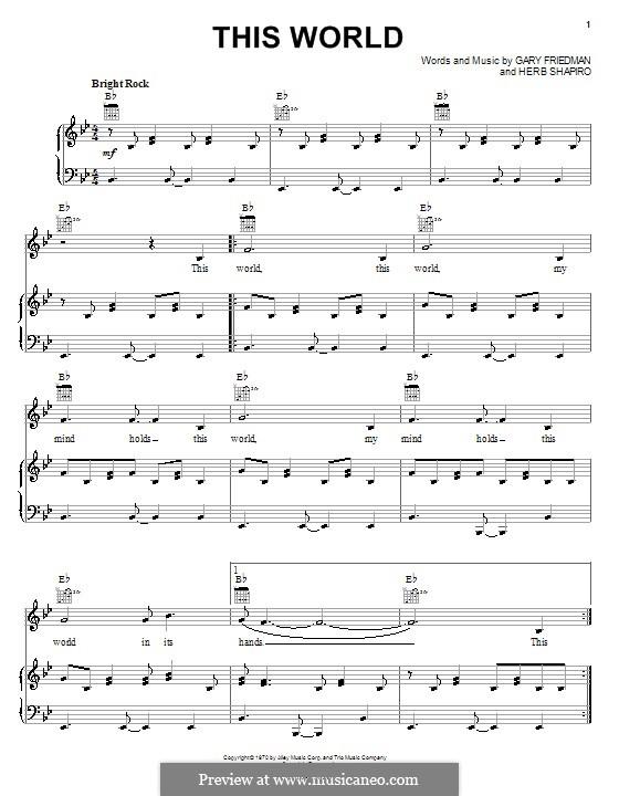 This World (The Staple Singers): Para vocais e piano (ou Guitarra) by Gary William Friedman, Herb Shapiro
