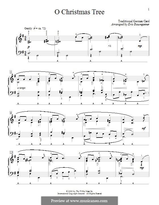 O Christmas Tree, for Piano: para dedilhado by folklore