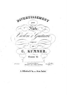 Three Divertissements for Flute, Violin and Guitar, Op.92: Partes by Kaspar Kummer