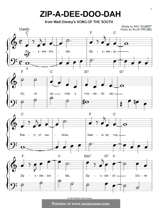 Zip-A-Dee-Doo-Dah: para piano (versão facil) by Allie Wrubel