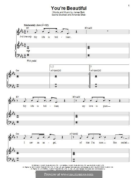 You're Beautiful: Para vocais e piano (ou Guitarra) by Amanda Ghost, James Blunt, Sacha Skarbek