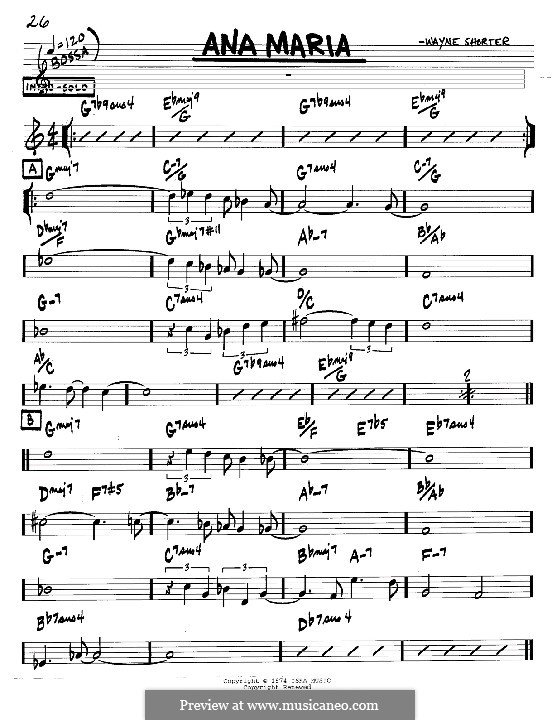 Ana Maria: melodia e acordes - Instrumentos C by Wayne Shorter