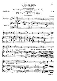 Geheimniss, D.491: Para vocais e piano by Franz Schubert