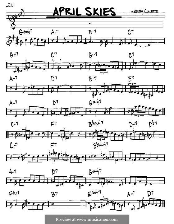 April Skies: melodia e acordes - Instrumentos C by Buddy Collette