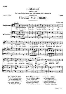 Herbstlied (Autumn Song), D.502: G maior by Franz Schubert