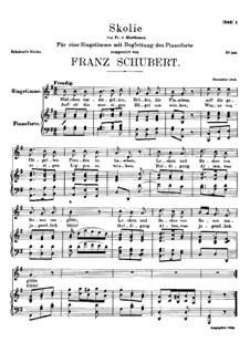 Skolie (Drinking Song), D.507: G maior by Franz Schubert