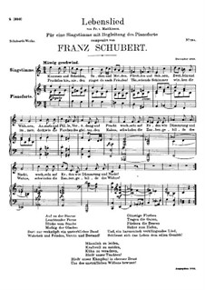 Lebenslied (Song of Life), D.508: C maior by Franz Schubert