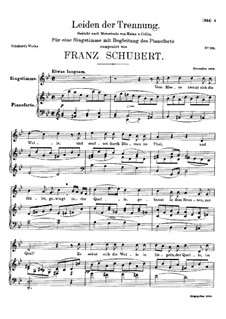 Leiden der Trennung (The Sorrow of Separation), D.509: B flat Maior by Franz Schubert