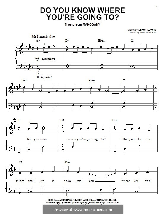 Do You Know Where You're Going To? (Diana Ross): Facil para o piano by Gerry Goffin, Michael Masser