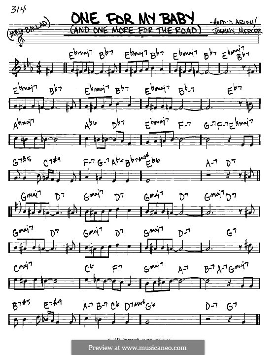 One for My Baby (And One More for the Road): melodia e acordes - Instrumentos C by Harold Arlen