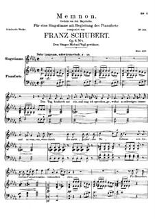 Memnon, D.541 Op.6 No.1: Para vocais e piano by Franz Schubert