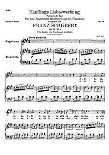 Hänflings Liebeswerbung (The Linnet's Wooing), D.552 Op.20 No.3: Partitura Piano-vocal by Franz Schubert