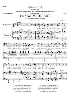 Abschied von einem Freunde (Farewell to a Friend), D.578: Abschied von einem Freunde (Farewell to a Friend) by Franz Schubert
