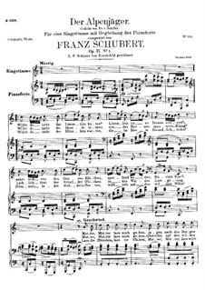 Der Alpenjäger (The Alpine Hunter), D.588 Op.37 No.2: Para vocais e piano by Franz Schubert