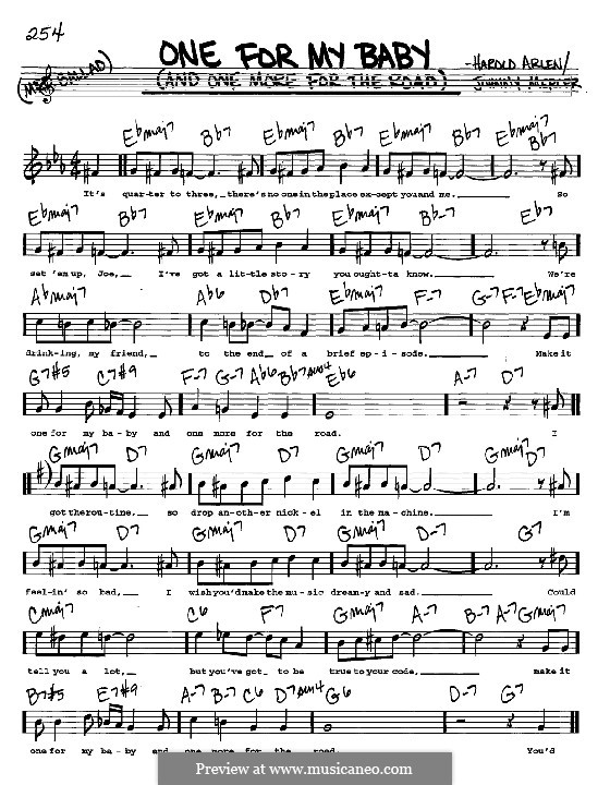 One for My Baby (And One More for the Road): melodia, letra e acordes -Instrumentos C by Harold Arlen